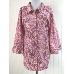 Catherines 3X 26W 28W Blouse Pineapples Cotton